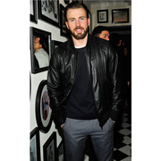 CHRIS EVANS BLACK LEATHER JACKET AT NEW YORK SAMSUNG GALAXY STUDIO