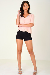 BLACK HIGH WAISTED SHORTS WITH EXPOSED BUTTON FLY EX BRAND