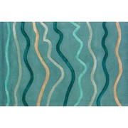 Wave Pattern Rug in Teal Blue & Aqua