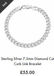 Silver mens curb bracelet